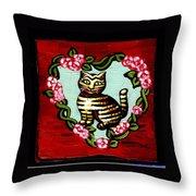 Cat In Heart Wreath 2 Throw Pillow