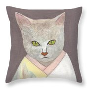 Cat In Kimono Throw Pillow