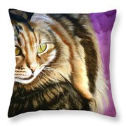 Cat In Purple Background Throw Pillow