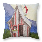 Cat In A Shack Throw Pillow