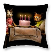 Cat - It's Our Birthday - 1914 Throw Pillow