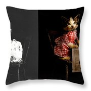 Cat - It's Our Birthday - 1914 - Side By Side Throw Pillow