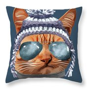 Cat Kitty Kitten In Clothes Aviators Toque Beanie Throw Pillow