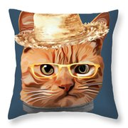 Cat Kitty Kitten In Clothes Yellow Glasses Straw Throw Pillow