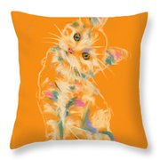 Cat Kitten Lou Throw Pillow by Go Van Kampen