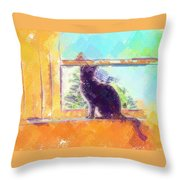 Cat Looking Out The Window Throw Pillow