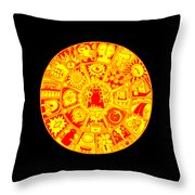 Cat Mandala Yellow And Red Throw Pillow