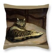 Cat On A Chair Throw Pillow