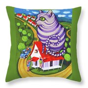 Cat On A Red Tin Roof Throw Pillow
