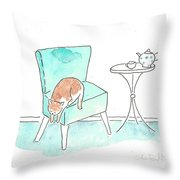 Cat On The Blue Chair Throw Pillow