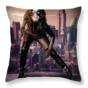 Cat On The Town Throw Pillow
