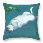 Cat On Vacation Throw Pillow