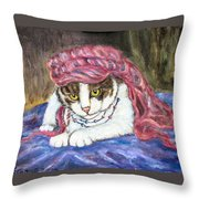 Tabby Cat With Yellow Eyes Throw Pillow