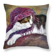 Cat Painting  Charlie The Pirate Throw Pillow