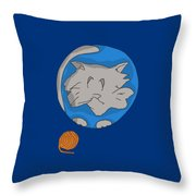 Cat Planet Throw Pillow