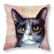 Cat Painting Cat Portrait Watercolor Cat Cat Art Cat Lover Gift Animal Portrait Watercolor Original Throw Pillow