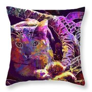 Cat Purr Kitten Pet Fur Feline  Throw Pillow