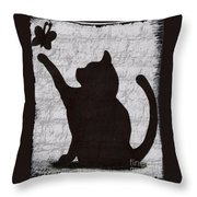 Cat  Shadow  And Butterfly  Throw Pillow