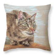 Cat Sitting On Lookout Throw Pillow