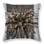 Cat Tail And Chinese Lantern Wreath Throw Pillow