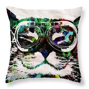 Cat Watercolor Rainbow Dreaming In Color Poster Print By Robert R Throw Pillow