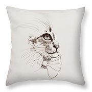 Cat Wearing A Bow Tie Throw Pillow