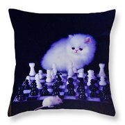 Cat With Chess Board Anbd Mouse Throw Pillow