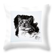 Cat With Ink Throw Pillow