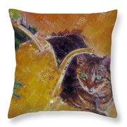 Cat With Watering Can Throw Pillow