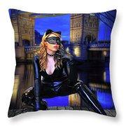 Cat Woman In London Throw Pillow