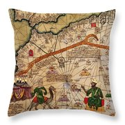Catalan Map Of Europe And North Africa Charles V Of France In 1381  Throw Pillow by Abraham Cresques
