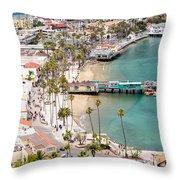 Catalina Island Avalon Waterfront Aerial Photo Throw Pillow