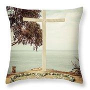 Catalina Island Cross Picture Retro Tone Throw Pillow