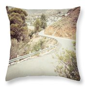Catalina Island Mountain Road Picture Throw Pillow