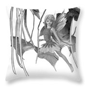 Catalpa Tree Fairy With Seed Pods B And W Throw Pillow