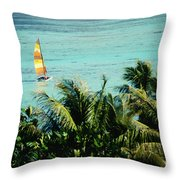 Catamaran On Tumon Bay Throw Pillow