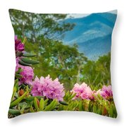 Catawba Rhododendron At The Craggy Throw Pillow