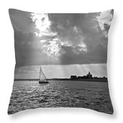 Catboat In Barnstable Harbor Throw Pillow