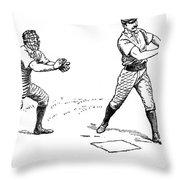 Catcher & Batter, 1889 Throw Pillow