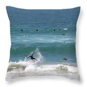 Catching Air In Huntington Beach California Throw Pillow