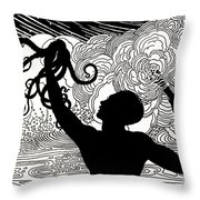Catching Octopus Throw Pillow