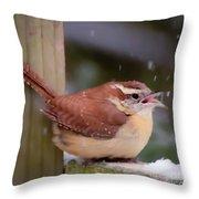 Catching Snowflakes Throw Pillow