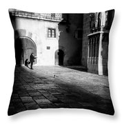 Catching Up On The News In Tarragona Spain Bw Throw Pillow