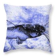 Catfish Blue Throw Pillow