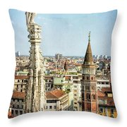 Cathedral And Campanile Milan Italy Throw Pillow