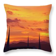 Cathedral Church Sunset Throw Pillow