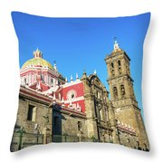 Cathedral In Puebla, Mexico Throw Pillow