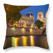 Cathedral Notre Dame And River Seine - Paris Throw Pillow