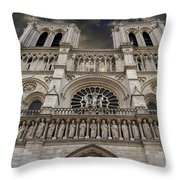 Cathedral Notre Dame Of Paris. France   Throw Pillow