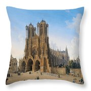 Cathedral Of Notre-dame At Reims Throw Pillow